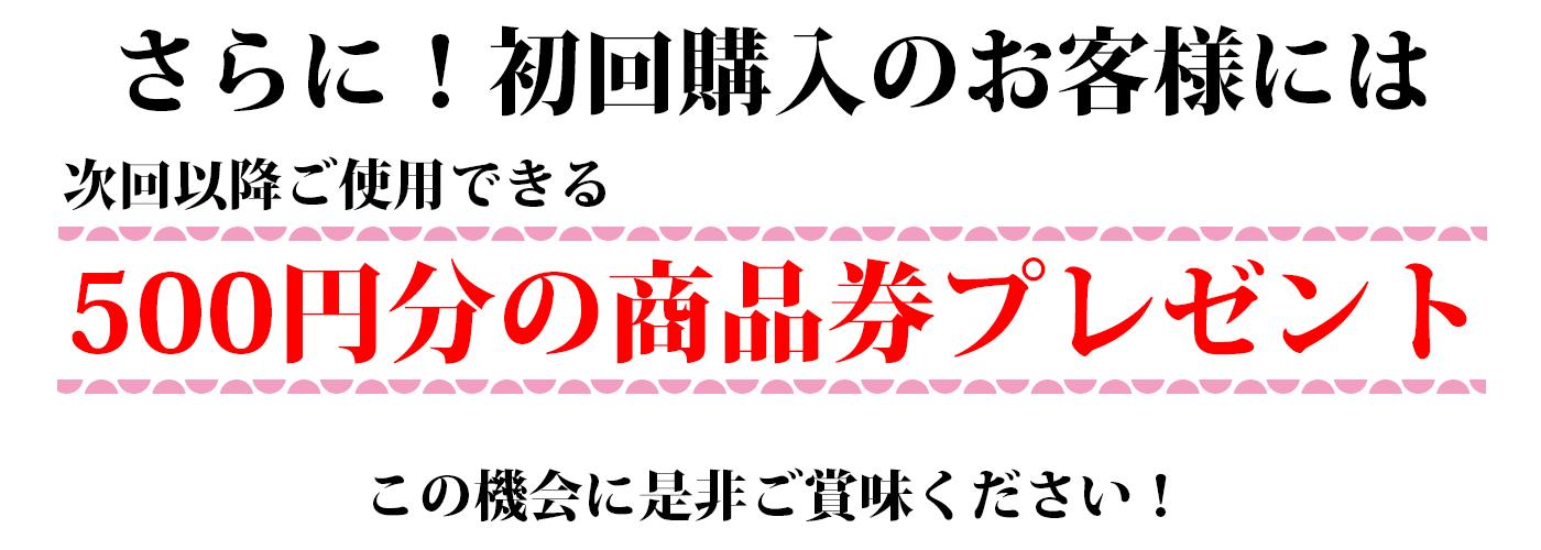 さらに、初回購入のお客様には、次回以降ご使用できる500円分の商品券をプレゼント。この機会に是非ご賞味ください。